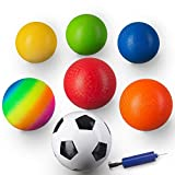 Aitken Enterprises Playground Balls 8.5 Inch (Set of 6) for Kids and Adults with Pump Plus Bonus Soccer Ball