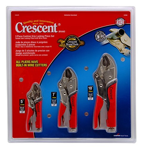 Crescent CLP3SETC 3 Piece 5-Inch, 7-Inch, and 10-Inch Curved Jaw Cushion Grip Locking Plier Set by Apex Tool Group - - Amazon.com