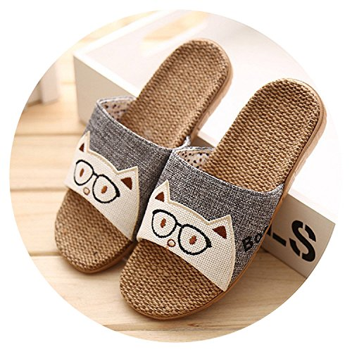 Cartoon Lovers Indoor Slippers Rabbit Cat Summer Flax Slippers Womens Mens Beach Sandals Home Floor Shoes,5,11