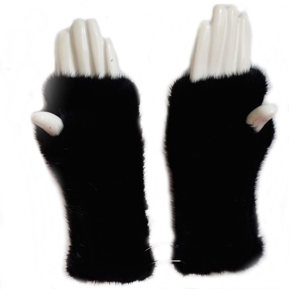 8'' Womens Winter Mittens Knitted Mink Fur Fingerless Gloves (Black) by Mfurs