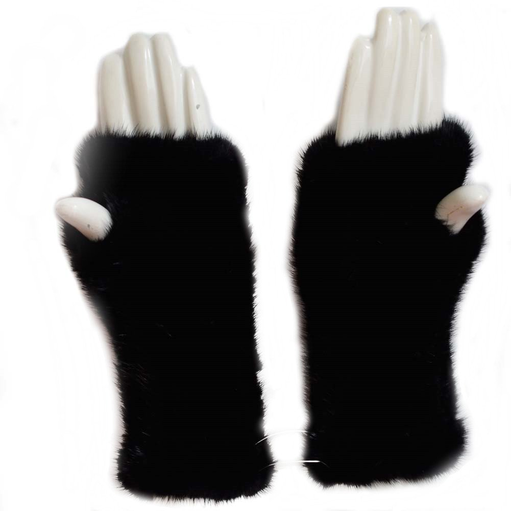 Valpeak 8'' Womens Winter Mittens Knitted Mink Fur Fingerless Gloves (Black)