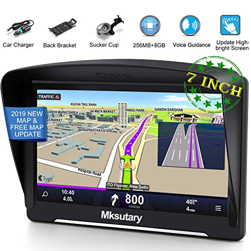 GPS Navigation for Car 2019, Mksutary 7 inch Highly-Brightness capacitive Touch Screen GPS, 8 GB Lifetime Map Update, Turn-by-Turn Direction Reminding Real Voice Spoken Navigation System for Car GPS