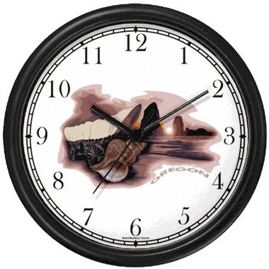 - Oregon Icons - Covered Wagon, Nautilus Sea Shell, Beach, Boulders, Ocean - American Theme Wall Clock by WatchBuddy Timepieces (Hunter Green Frame)