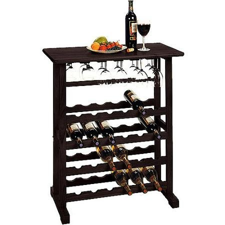 Espresso Vinny 24-bottle Wine Rack, Multiple Finishes, Holds 24 Bottles of Wine and up to 18 Long-stem Wine Glasses (Vinny 24 Bottle Wine Rack compare prices)