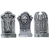 """Gerson Set of 3 Large 21"""" Old Ancient Vintage Style Tombstones w Weathered Look for Cemetery Halloween Yard Lawn Decor PolyFoam"""