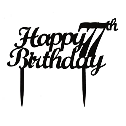 amazon happy 77th birthday cake topper black color acrylic the Elegant 100th Birthday Party Supplies image unavailable