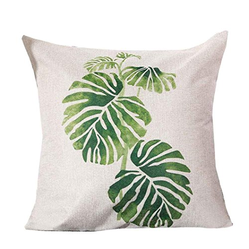 [Gotd Christmas Decorative Cushion Pastoral Style Green Leaf Cotton Linen Pillow Throw Case Cover Pillowcase Cushion Cover for Sofa Throw Pillow Case Christmas Gifts 18