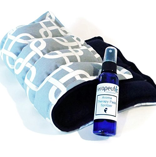 Large Microwave Heat Pack, Unscented Flax Rice Heating Pad with Scented Herbal Aromatherapy Spritzer