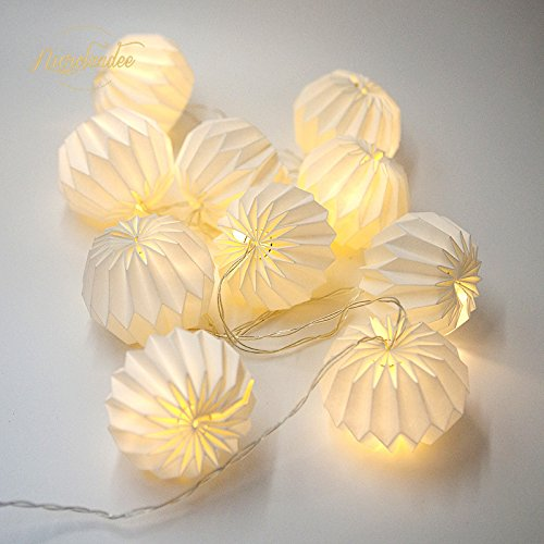 2.1M LED Origami Light String with 10 Origami Flowers White Fairy Lights Scandinavian Style Paper Light Chain for Workspace Nursery Garden Room Party Decor