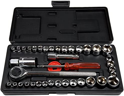 40 Piece Ratcheting Socket Wrench Set - Metric and Standard 6-Point Hex Socket Organizer Kit with Combination Torque and Insulated Handles