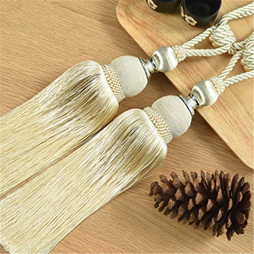 JONARO 1 Pair Curtain Brush Tiebacks Tassel Fringe Hanging Belt Balls Curtain Accessories Holderback Tie Backs Lashing Bind, 2Pcs