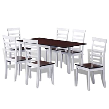 large dining room table and chairs set wooden kitchen furniture 6 rh amazon co uk