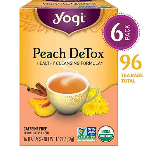 Yogi Tea - Peach DeTox - Healthy Cleansing Formula - 6 Pack, 96 Tea Bags Total ()