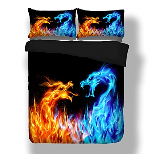 HomeBlove Fire Dragon 3D Duvet Cover Bedding Sheet Sets Twin/Full Size for Teen Kids, Queen/King Bed Sheet Sets, No Comforter, No Fitted Sheet (Style-2, Twin)