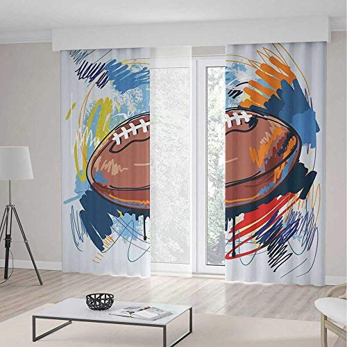 YOLIYANA Window Curtains Sports Diamond Shape Rugby Ball Sketch with Colorful Doodles Professional Equipment League
