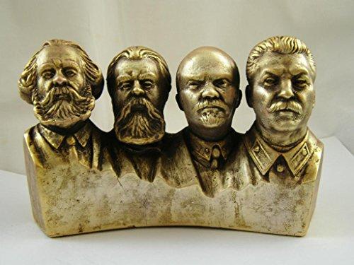 (SOVIET RUSSIAN COMMUNIST PARTY LIDERS LENIN & STALIN & MARX & ENGELS BUST STATUE)