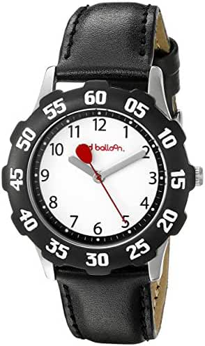 Red Balloon Kids' W000350 Tween Stainless Steel Black Bezel Black Leather Strap Watch