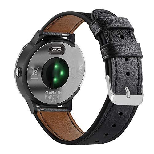 Abanen for Garmin Vivoactive 3/Forerunner 245/645 Watch Band, 20mm Genuine Leather Quick Easy Relase Wristband Strap for Garmin Vivomove/HR,Vivoactive 3 Music (Black) (For Garmin Watchband)