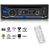 CATUO Single Din Car Stereo Receiver, 12V Bluetooth DVD/CD Music Player, MP3/USB/TF/FM/AM/RDS In Dash Vehicle Radio Receiver with Wireless Remote