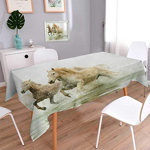 Anmaseven Horses Oblong Dinner Picnic Table Cloth Camargue Horses in Water Ancient Oldest Breed Southern France Origin Artful Photo Waterproof Table Cover for Kitchen White Beige Size: W50 x L80