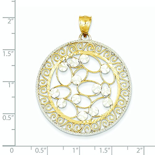 Rhodium Pendentif en filigrane en or 14 ct - Dimensions 48,5 x 37.5 mm