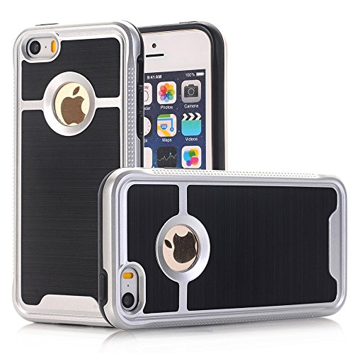 TPU/PC Shockproof Cover Case For Apple iPhone SE / 5G / 5S (Silver) - 3