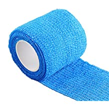 Self-Adhesive Elastic Bandage, Blue 5cm x 4.6m Self Cohesive Bandage Wraps Adhesive Bandage First Aid Tape Stretch for Sprain Swelling and Soreness on Wrist and Ankle, Pack of 5 Rolls