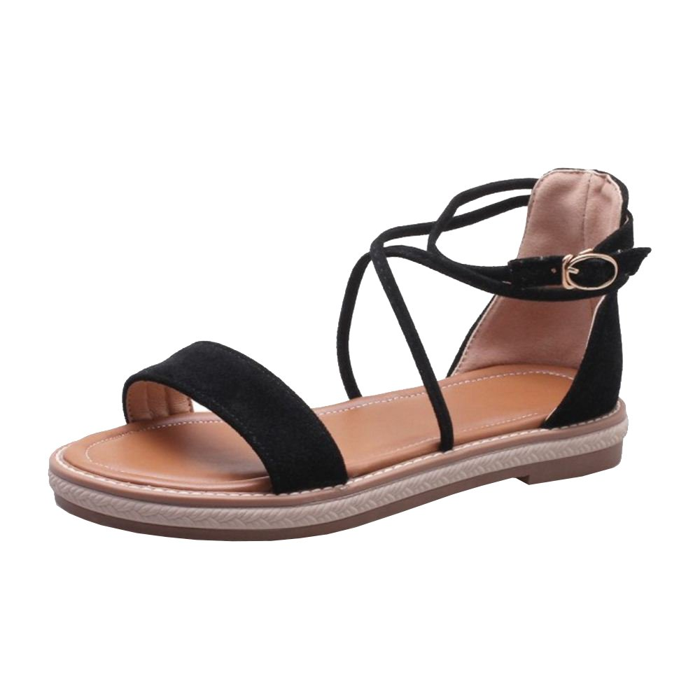 TAOFFEN Damen Sandalen Sandaletten Schuhe Flach  37 EU|Black