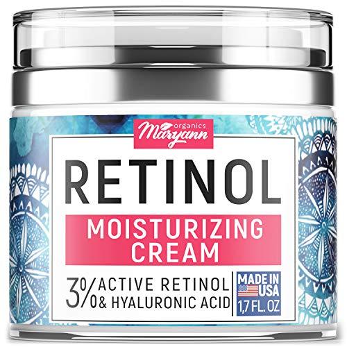 MARYANN Organics Retinol Cream - Made in USA - For All Skin Types - Anti Aging Effect - With Hyaluronic Acid & Vitamin E - Anti wrinkle Cream & Facial Moisturizer for Women - 1,7 OZ