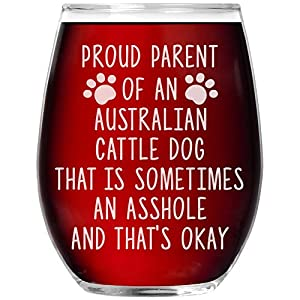 Funny Australian Cattle Dog Gifts Laser Etched Stemless Wine Glass Cup Mom Dad Mama Lover Owner Birthday Present Idea F-81D 16