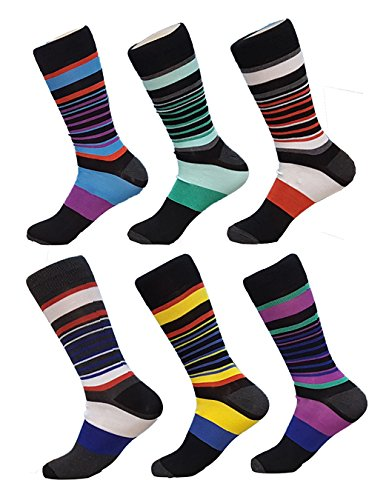 Debra Weitzner mens Dress Socks With Colorful Stripes Patterns- Cotton - Crew length - Pack of 6 Pairs (Stripe Socks Cotton)