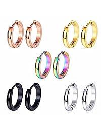 BodyJ4You 5 Pairs Earrings Hoops Huggie Stainless Steel Small Ear Piercing Black Rainbow Set