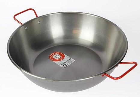 Amazon.com: La Ideal - Sartén honda de acero pulido con dos ...