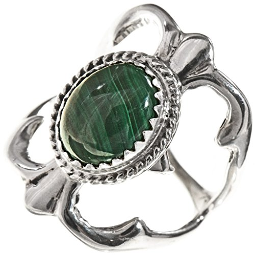 Southwest Malachite - Malachite Southwest Silver Ladies Ring Navajo Sandcast Design