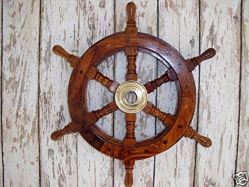 vintage-home-decor-12-ships-wheel-wood-brass-wooden-pirate-captain-nautical-maritime