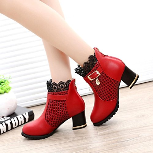 Women Buckle Boots Ankle Thick Boots Zip Heel Riding Xinantime Platform Red Shoes p7ZqSp