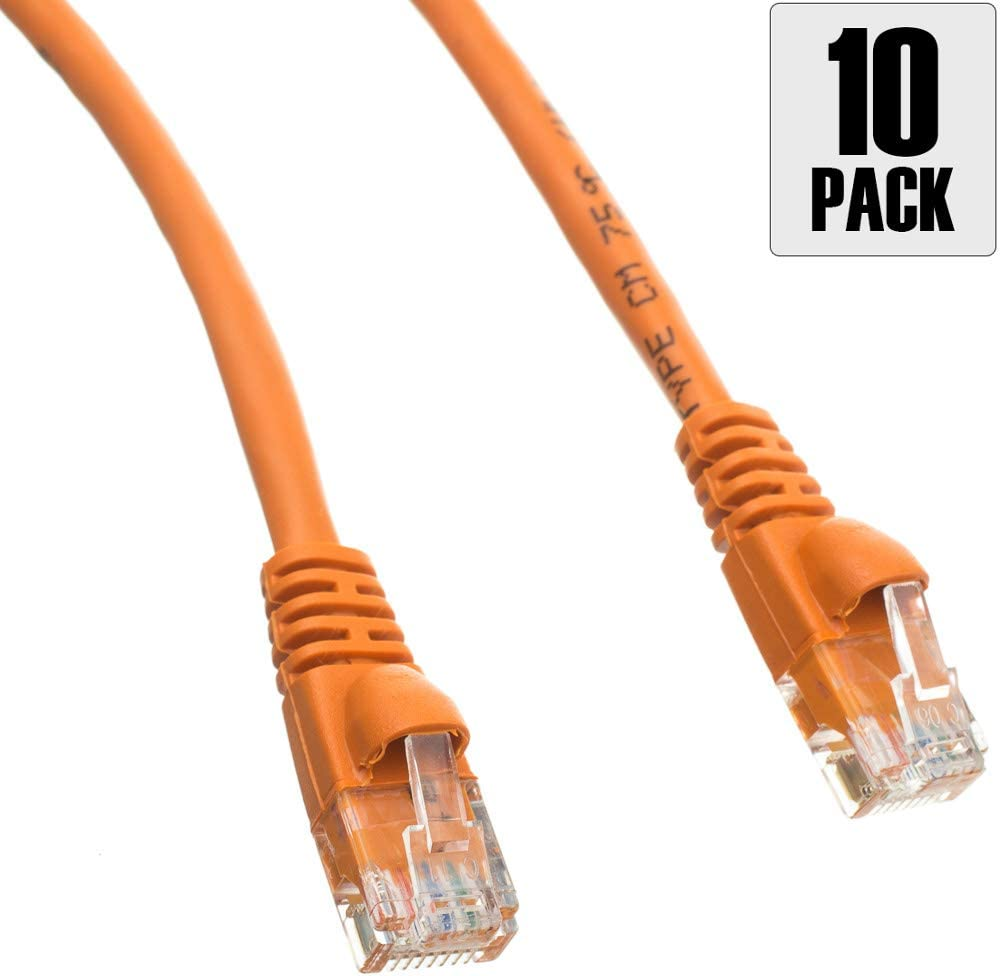 10 Foot Snagless//Molded Boot Pack of 10 Konnekta Cable Cat5e Orange Ethernet Patch Cable