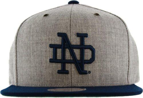うっかり恩赦穴Notre Dame Fighting Irishヘザーグレーウールストラップバック帽子