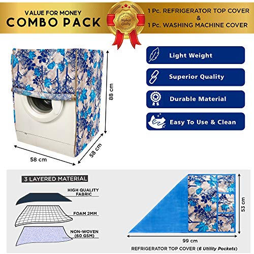 E-Retailer® Combo Set of Front Load Washing Machine Cover for 5kg to 7.5Kg and Fridge Top Cover with 6 Utility Pockets (Blue, Set of 2 Pcs) 51uhe2syDXL India 2021