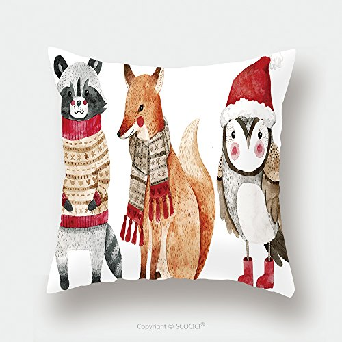 Custom Satin Pillowcase Protector Christmas Watercolor Animals Set Fox Raccoon And Bird Like Owl Cute Kids Illustration Perfect 531044182 Pillow Case Covers Decorative by chaoran