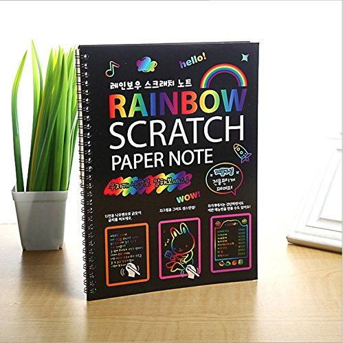 Premium Scratch & Sketch Art Notes - (2 Pack) Large Rainbow Art & Doodle Pad. Colorful effects will dazzle and spur creativity, suitable for kids of all ages!