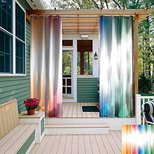 UNOSEKS LANZON Curtain for Outdoor Gazebo, Abstract Rainbow Colored Lines Disconnected with a White Beam Abstract Work Linear Stripes 3D Printed Pattern Curtains Drapes (Multicolor, 84 x 84 -