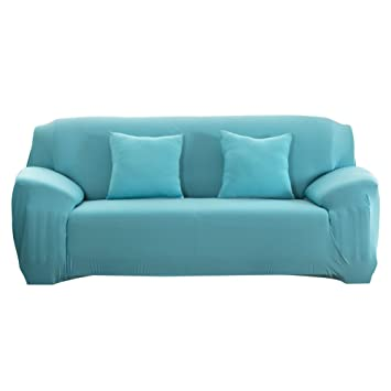 Domybest Funda de sofá Estirable, Funda para sofá Ajustable de la Moda, Apta para Muchos sofás (Azul Claro, 3 Plaza)