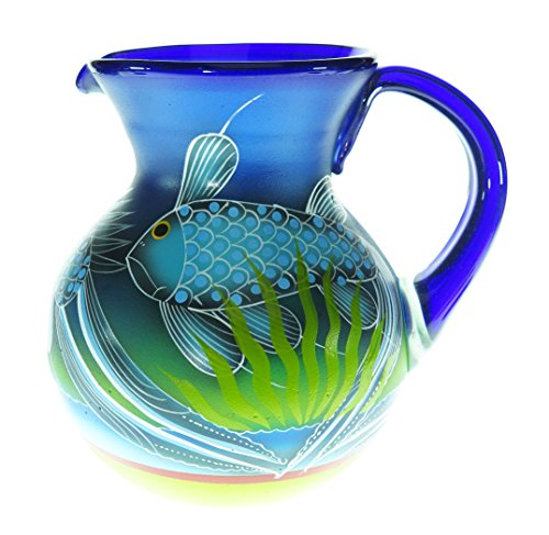 Mexican Glass Margarita or Ice Tea Pitcher, Hand Painted With Fish in the Blue Sea, 4 quarts - Hand Painted Glass Pitcher