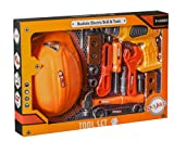 Playkidz Tool Set for Kids 14-Piece Boys & Girls Toy Playset w/Construction Hard Hat, Working Electric Power Drill, Hammer, Screwdriver, Wrench & Other Realistic Accessories Recommended Ages 3+