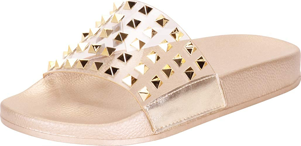 Cambridge Select Womens Clear Single Band Pyramid Stud Slip-On Flat Slide Sandal