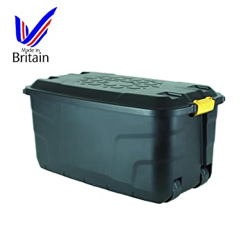 strata litre plastic waterproof trunk storage box boxes tub wheels easy manoeuvrability small garden containers walmart