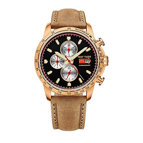 - LiBetyd RT Sport Watch for Men Chronograph Quartz Watch with Italian Calfskin Leather and Super Luminous Watch-RGA3029PBS