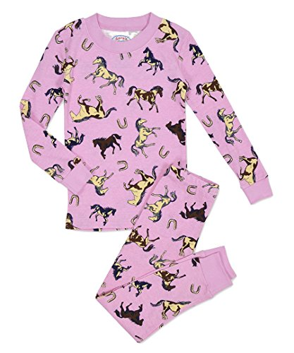 - Sara's Prints Girls' All Cotton Long John Pajama Set 10 Pink