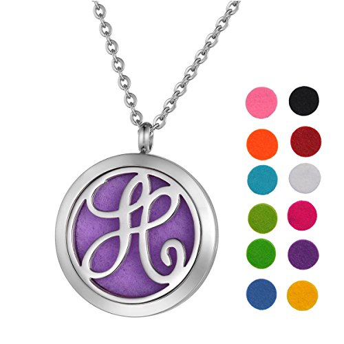 (Stainless Steel Aromatherapy Essential Oil Diffuser Necklace with